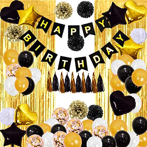 Finypa Black and Gold Birthday Decorations for Men 2pcs 8*3ft Fringe Curtains Gold Party Decoration Happy Birthday Banner,Paper Poms,Tassels 18th 30th 40th 50th 60th Birthday Supplies for Boy Women