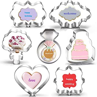Wedding Cookie Cutter Set-7 Piece-3 Inches-Heart, Diamond Ring, Wedding Cake, Flower, Rectangle, Square and Oval Plaque Cookie Cutters Molds for Bridal Shower Engagement