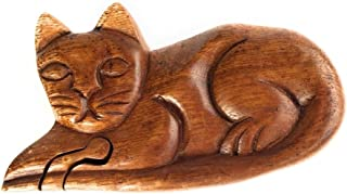 Eyes of the World Imports Hand Carved Wooden Puzzle Box Cat with Secret Compartment to hid Money Jewelry Love Notes ect.