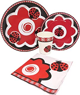 Blue Orchards Ladybug Standard Party Packs (65+ Pieces for 16 Guests!), Ladybug Birthday Supplies, Plate and Napkin Sets