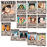 juice-ma One Piece Wanted Luffy Classic Cartoon Poster Kraft Paper Poster Retro Nostalgic Paint Set de 12