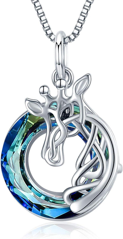 925 Sterling Silver Celtic Knot Giraffe Head Pendant Necklace Gi