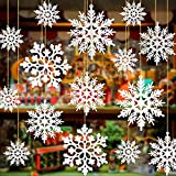 36 Pieces Plastic Snowflake Ornaments,...