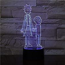 KLJLFJK 3D Led Night Light Lamp Cartoon Rick et Morty Colorful Nightlight for Children s Bedroom Decoration Cool Kids Gift Baby 3D Lamp