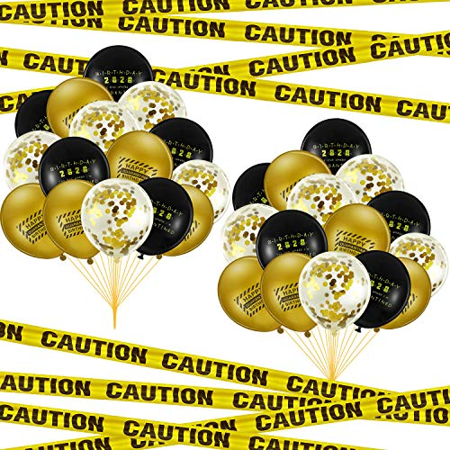 30 Pieces Quarantine Birthday Balloons and 78.7 Inch Yellow Quarantine Caution Tape 12 Inch Happy Quarantine Birthday Latex Balloons for Quarantine Birthday Party Decorations Stay Home Party Supplies