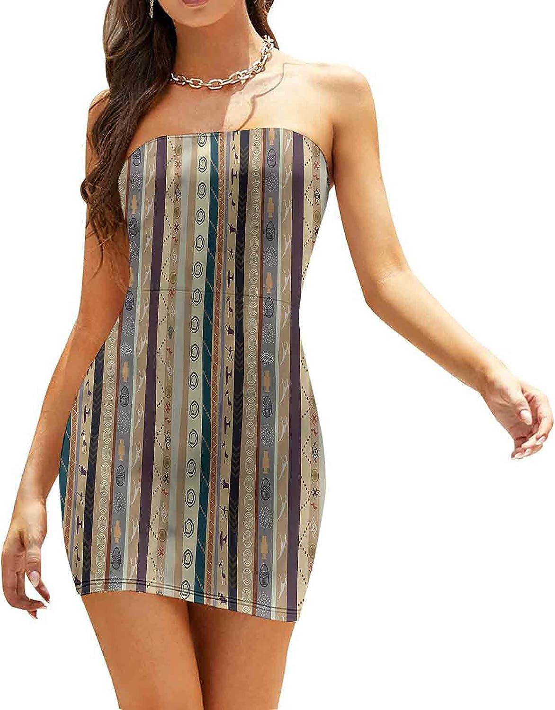 Women's Tube Top Beach Mini Dress Striped with Art Dresses