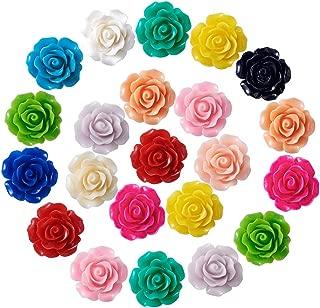 Kissitty 135pcs/box 15 Colors Opaque Resin Flower Flatback Cabochons 20x9mm Scrapbook Embellishment for DIY Craft Making