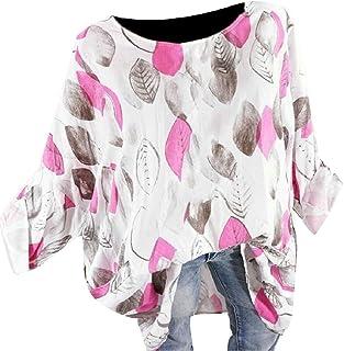 CBTLVSN Womens Large Size Summer Leaf Print Loose Blouse Shirt Tops