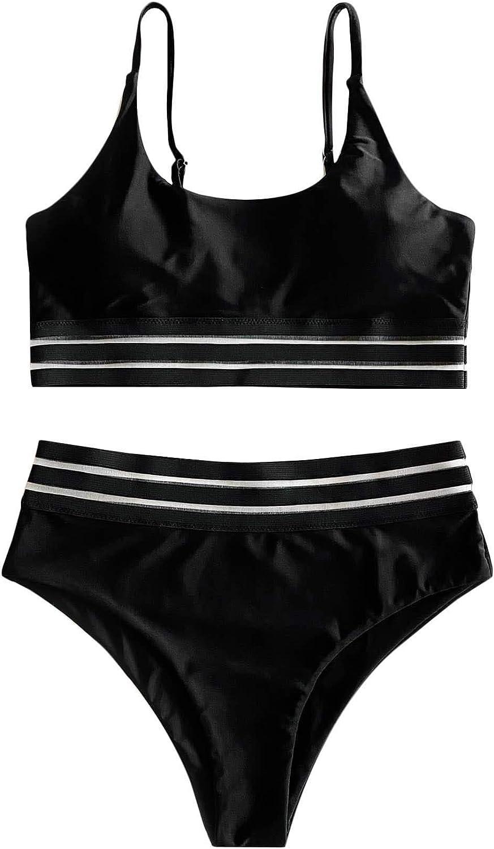 SOLY HUX Women's Spaghetti Strap Contrast Mesh Bikini Bathing Suits 2 Piece Swimsuits Black S