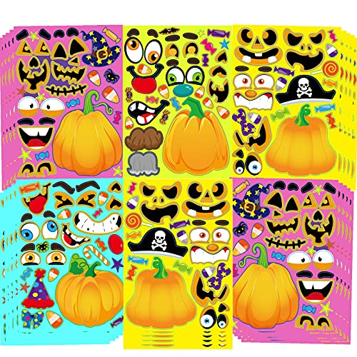 40 Sheets Halloween Party Games Stickers for Kids Make Your Own Jack-O-Lantern Stickers, Kids Halloween Activities Stickers Pumpkin Face Stickers for Kids Halloween Party Favors