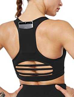 HAODIAN Women's Mesh Sports Bra Phone Pocket Strappy Yoga Racerback Seamless for Gym Workout
