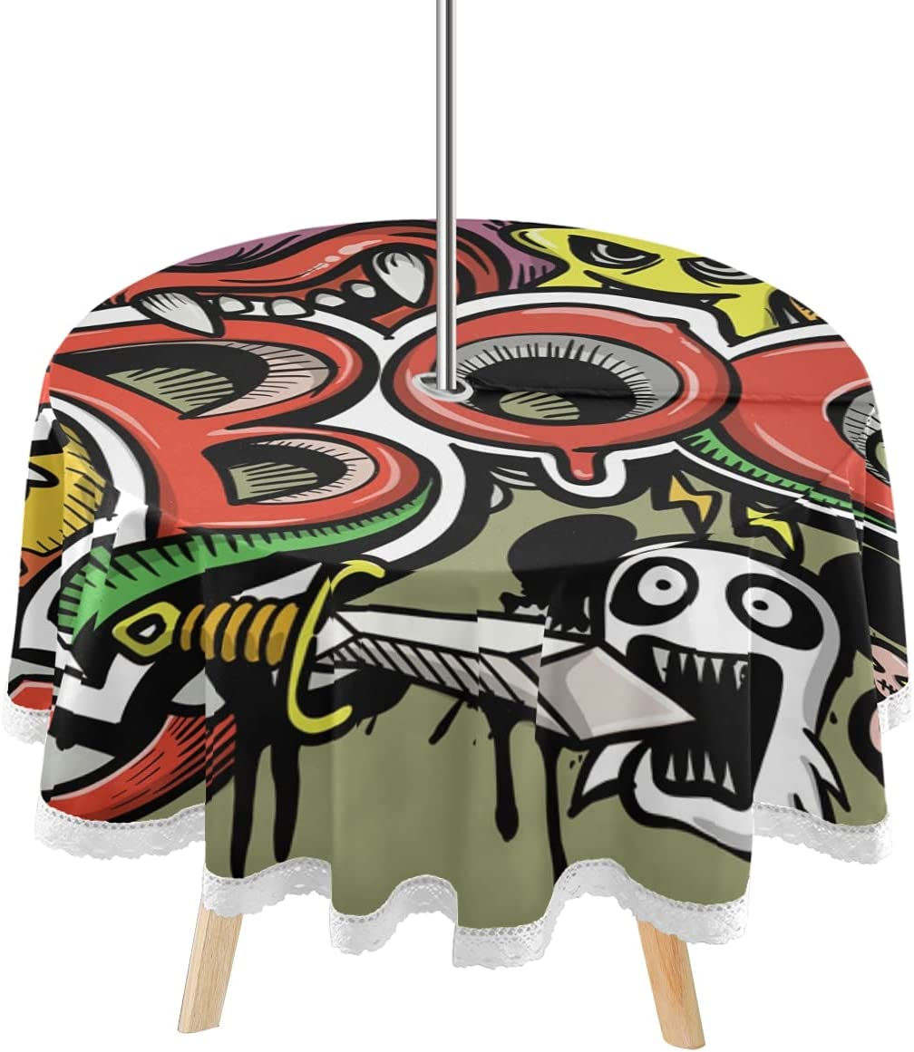 DOMIKING Happy Choice Max 79% OFF Halloween Boo Monsters Outdoor Tablec Patio Round