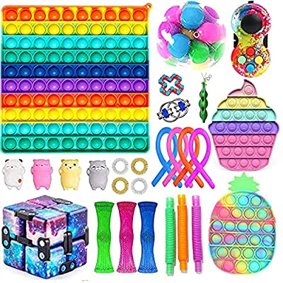 Novelty Sensory Fidget Toys Set Simples-Dimples Toy Packs Early Learning Squeeze Type Toys Set Stress Relief and Anti-Anxiety Tools Bundle Hand Toys Decompression Toy Kit (Style B, 27PCS) by Lefyira