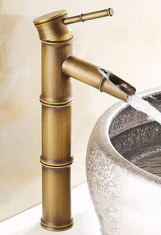CFHJN Home Waschtischarmaturen ContinentalVintage Kupfer Warmes und kaltes Becken Bambusbereich Einlochmontage Gebürstet Sitzend