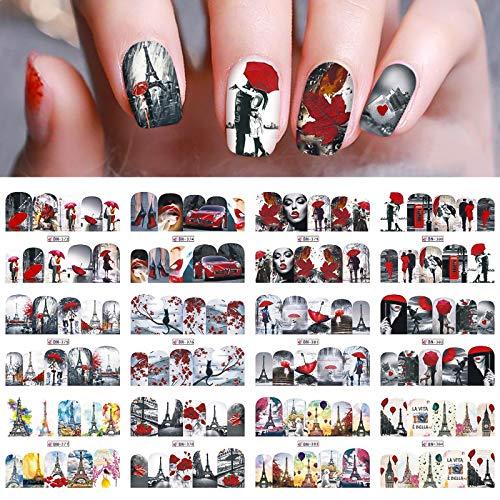 12pcs Nail Art Aufkleber, Kalolary Valentinstag Thema Nagelaufkleber 3D Nail Art Wassertransfer Aufkleber Paar Paris Eiffel Design Nagelabziehbilder für Frauen Mädchen Nail Decoration