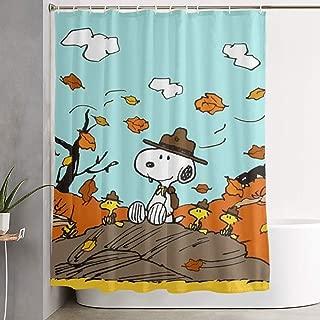 MOANDJI Funny Fabric Shower Curtain Autumn Snoopy Waterproof Bathroom Decor with Hooks 60 X 72 Inch
