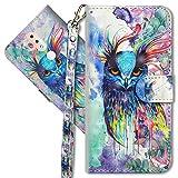 MRSTER Nokia 4.2 Handytasche, Leder Schutzhülle Brieftasche Hülle Flip Hülle 3D Muster Cover mit Kartenfach Magnet Tasche Handyhüllen für Nokia 4.2. YX 3D - Colorful Owl