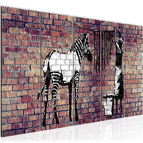 Bilder Banksy Washing Zebra Wandbild 200 x 80 cm Vlies - Leinwand Bild XXL Format Wandbilder Wohnzimmer Wohnung Deko Kunstdrucke Braun 5 Teilig - MADE IN GERMANY - Fertig zum Aufhängen 012955b