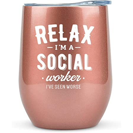 Social Worker Gifts for Women - Tumbler/Mug 12oz for Coffee, Wine or Any Drink- Funny Gift Ideas for Social Work, Graduation, Glass, Bulk, Office
