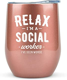 Social Worker Gifts - Tumbler/Mug 12oz for Coffee, Wine or Any Drink- Funny Gift Ideas for Social Work, Graduation, Glass,...