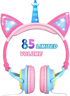 Glowing Unicorn Kids Headphones for Girls Boys - Cat Ear LED Headphones Light Up Wired Adjustable Foldable 85dB Volume Limited On/Over-Ear Headphone for Game Travel Headset School Birthday Gift, Pink