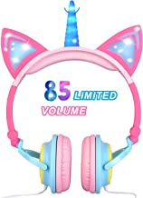 Glowing Unicorn Kids Headphones for Girls Boys Toddler - Cat Ear LED Headphones Light Up Wired Adjustable Foldable 85dB Volume Limited On/Over-Ear Headphones for School Birthday Xmas Holiday - Pink