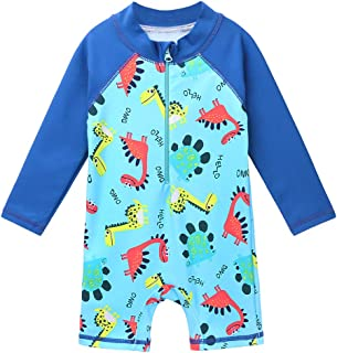 HUAANIUE Baby/Toddler Boy Swimsuit Long Sleeve One-Piece Swimwear Rashguard