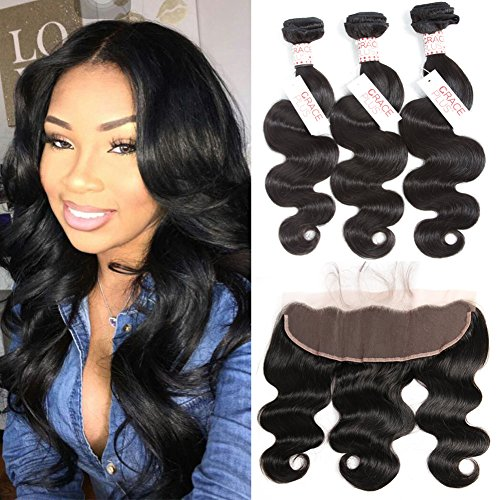 Grace Plus Hair Brazilian Body Wave 3 Bundles with Frontal Ear to Ear Lace Frontal Closure with Bundles Brazilian Hair with Closure Human Hair Extensions Lace Frontal with Baby Hair (16 18 20+14)