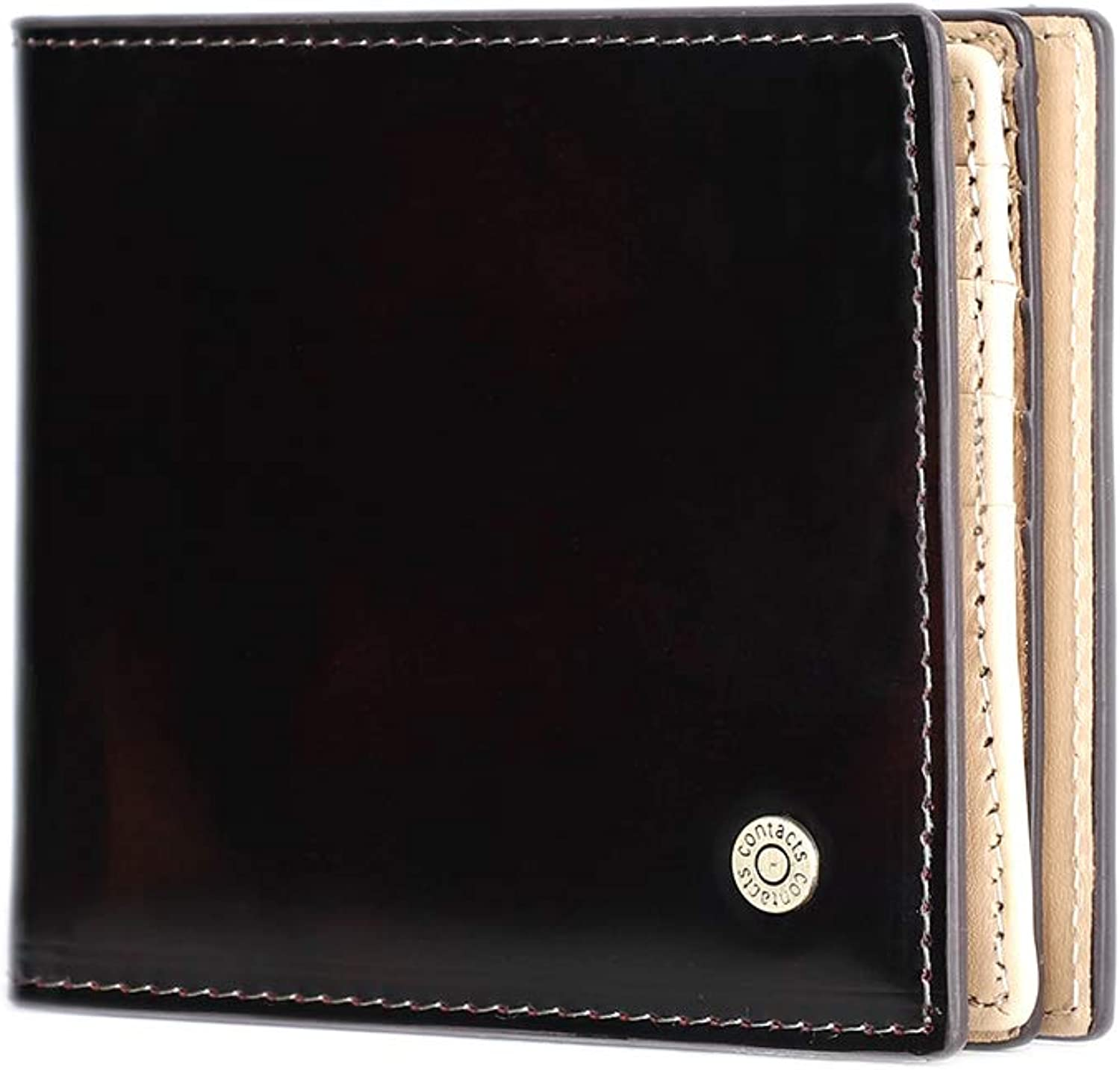 CONTACT'S-Mens RFID Blocking Bifold Card Wallet With snap, Slim Genuine Leather Coin Pouch Black
