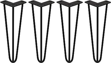 4 x 35.5cm Hairpin retro pootjes tafelpoten pinpoten - 3 Ledig - 10mm - Zwart