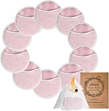 10 Pack Bamboo Makeup Remover Pads with Laundry Mesh Bag by Baskiss, Chemical free, Organic Reusable Soft Facial and Skin Care Washable Cloth Pads (Pink)