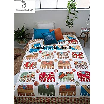 Vintage Quilt Bohemian Bedspread Elephant Throw Cotton Bedding Throw Blankets Indian Bedcover Handmade Quilt GANESHAM Indian Hippie Home Decor Room Decor Blanket Coverlet Bohemian Bedding