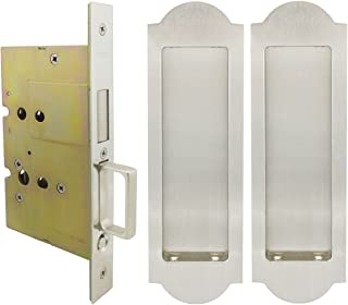 INOX FH31PD8115-234-15 Mortise Pocket Door Passage Lock with 2-3/4-Inch Backset and Dust Proof Strike, Satin Nickel
