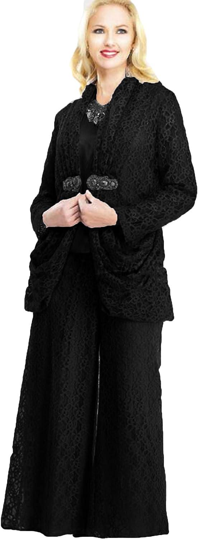 Xixi House Women's 2021 Lace Mother of The Bride Dresses Pants Suit 3 Piece Wedding Guest Outfit with Wide Leg