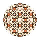 Panorama Alfombra Vinílica Redonda Hidráulico Oriental Mosaico Naranja 190x190 cm - Alfombra Cocina Vinilo - Alfombra Salón Antideslizante e Ignífuga - Alfombras Grandes - Alfombras PVC