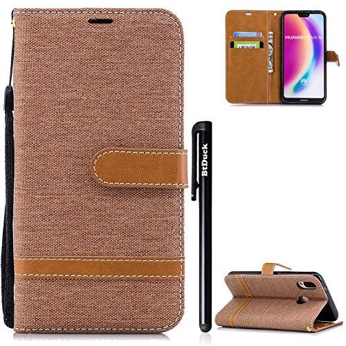 BtDuck Huawei P20 Lite Hülle, Denim PU Leder Slim Tasche Stand Flip Case Brieftasche Retro Ledertasche Weich Silikon Back Cover Hülle mit Magnetverschluss Kartenfach Handyhülle Huawei P20 Lite Braun