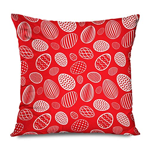 Throw Pillow Cover Decorative Square 16x16 Colorful Egg Red Retro Abstract Holidays Stripe Season Celebration Traditional Cute Drawn Dot Draw Zippered Pillowcase Home Decor Cushion Case 16\ X 16\(IN)