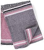 Genuine Mexican Handwoven Blanket, Premium Large Heavyweight Falsa Blanket, Serape & Yoga Blanket   Beach Blanket   Throw Blanket   Picnic Blanket (Traditional, Pastel)