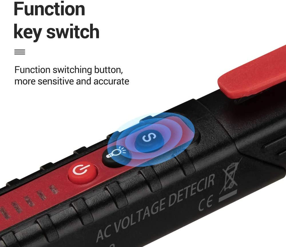 ZffXH Non-Contact AC Voltage Detector Tester Meter 12V-1000v Pen Style Electric Indicator-Red