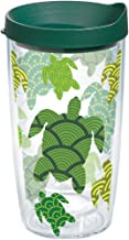 Tervis 1154234 Turtle Pattern Insulated Tumbler with Wrap and Hunter Green Lid 16oz Clear