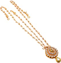 Geode Delight Adult Gold Plated Kundan Tipe Rajasthani Rajputi Matha Patti Maang Tikka Jewelry