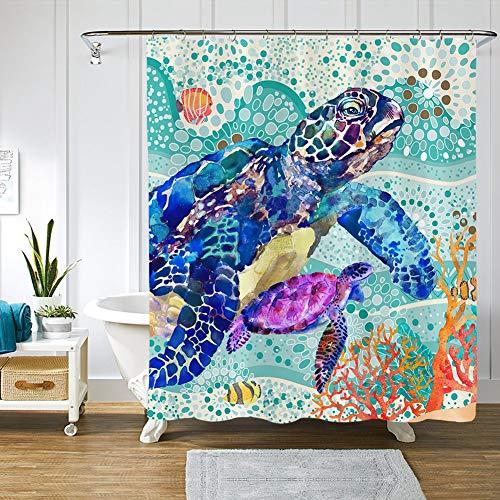 AOKDEER Watercolor Sea Turtle Shower Curtain Set - Underwater World Bathroom Shower Curtains Waterproof Fabric Bath Curtain Bathroom Decor with 12 Hooks, 72 x 72 Inches