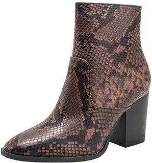 BIKETAFUWY Women's Snakeskin Print Ankle Boots Pointed Toe Zipper High Chunky Heel Pumps Snakeskin Booties Party Shoes