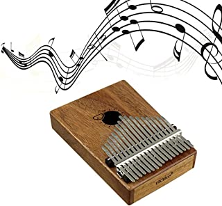 Finger Piano, Womdee Kalimba 17 Key Thumb Piano Solid Finger Piano Natural Mahogany Body Finger Percussion Keyboard with Instruction Tune Hammer for Beginners and Advanced Players