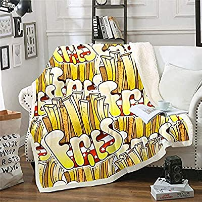 BCDJYFL Polaire Couverture Frites 3D Voyage Pique-Nique Canapé-Lit Literie Bébé Petite Couverture Drap De Lit Adulte Enfant.140X160Cm