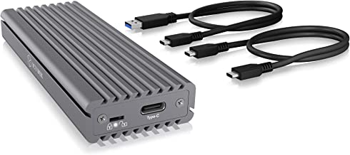 ICY BOX Write Protection Feature M.2 NVMe SSD Enclosure with Innovative Heatsink Design with USB 3.1 Gen 2 Data Transfer Speed for Connecting to Type-C and Thunderbolt 3 Ports