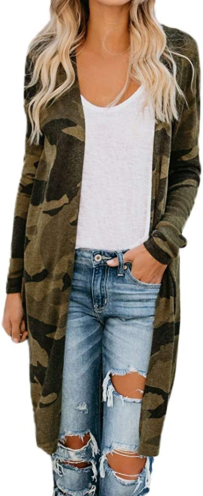 Cardigan for Women,Women's Long Sleeves Camouflage Print Cardigan Open Front Warm Sweater Outwear Coats with Pocket