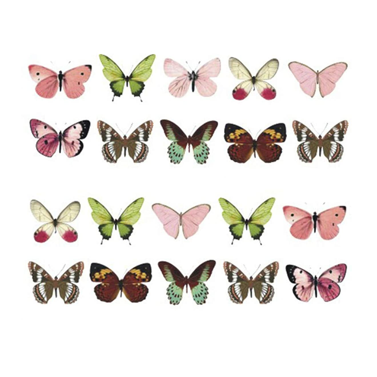 持続する絶壁ブレスネイルシール 蝶 バタフライ ピンク/グリーンなど ネイルステッカー ネイルアートジェルネイル1枚入り 貼るだけ DIY ネイル飾り エンボス