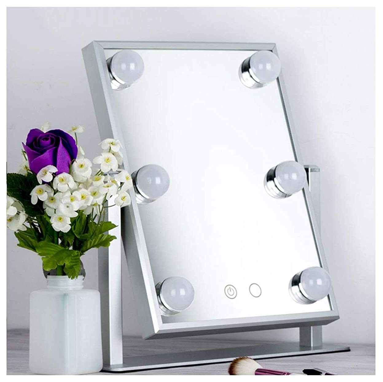 腐敗した山岳クックGSN 電球美容鏡HDデスクトップグローイングバニティミラー360°回転化粧鏡ミラーシェービングミラーで導かれた 鏡 (Color : Silver)