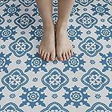 NUFLR 20 x 20 cm autoadhesivo piso azulejo vinilo suelo mosaico azulejos hoja impermeable PVC piso para cocina baño decoración azul10 piezas
